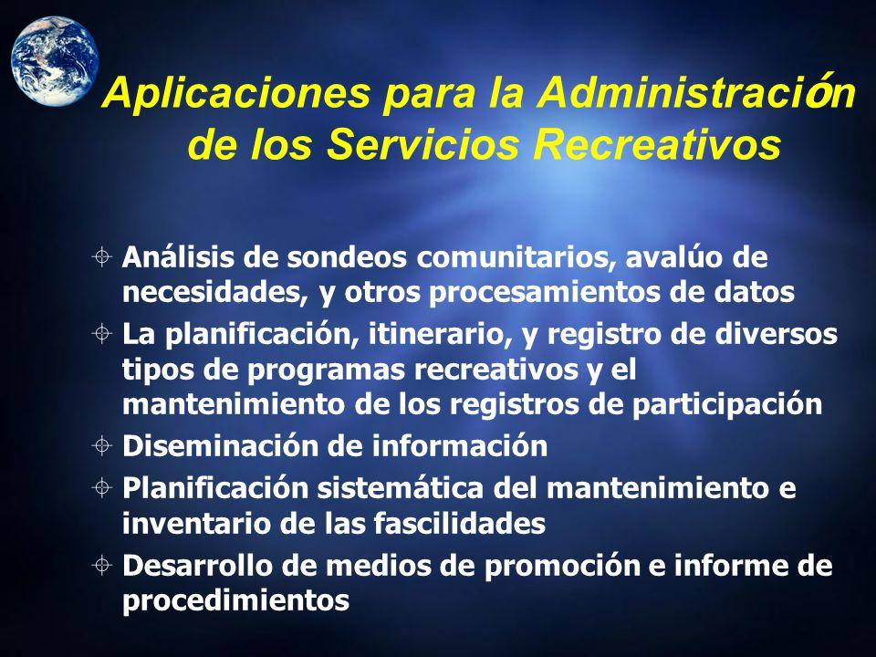 Aplicaciones para la Administración de los Servicios Recreativos