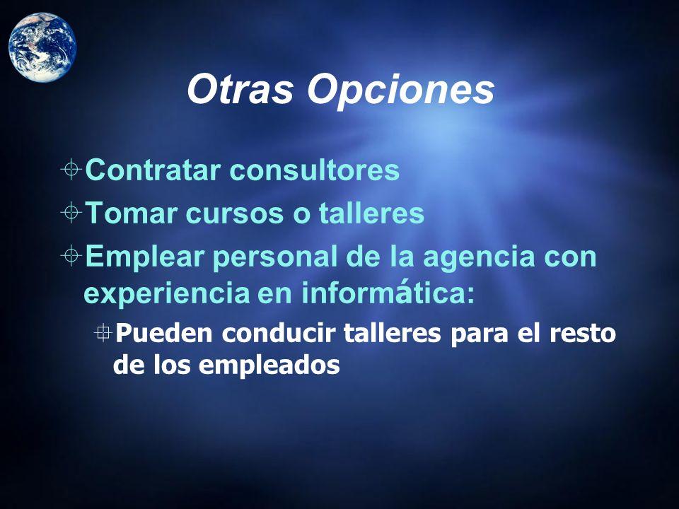 Otras Opciones Contratar consultores Tomar cursos o talleres