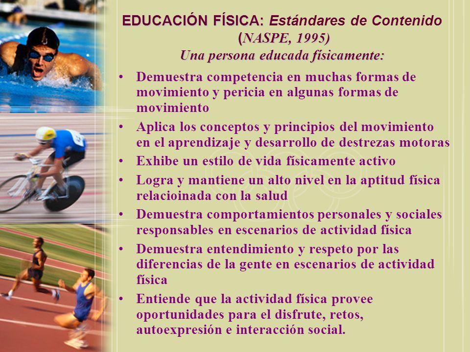 EDUCACIÓN FÍSICA: Estándares de Contenido (NASPE, 1995) Una persona educada físicamente: