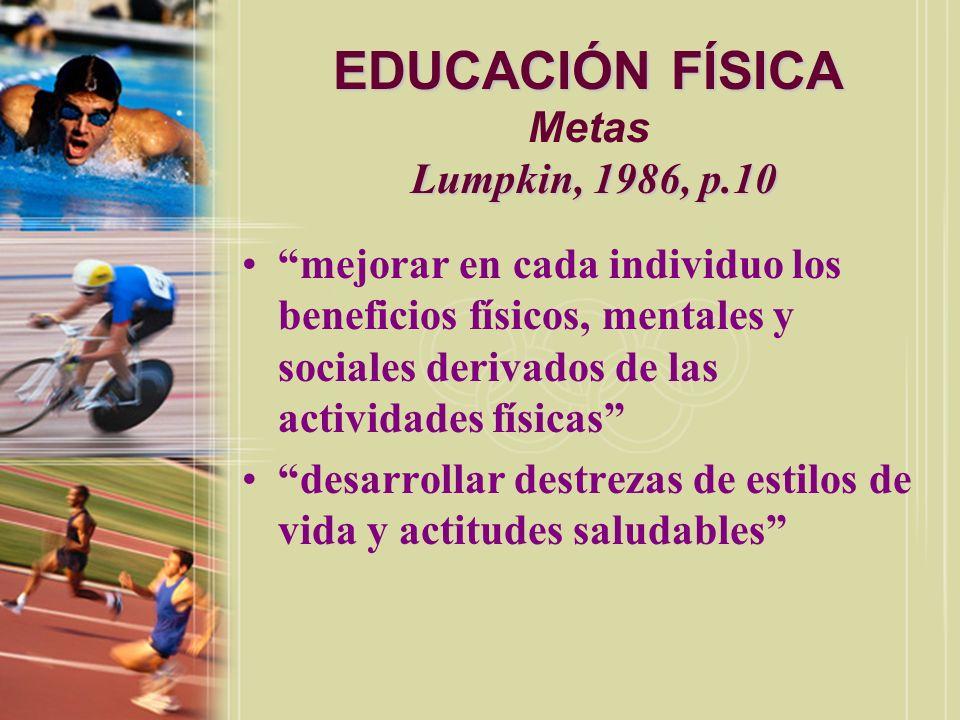 EDUCACIÓN FÍSICA Metas Lumpkin, 1986, p.10