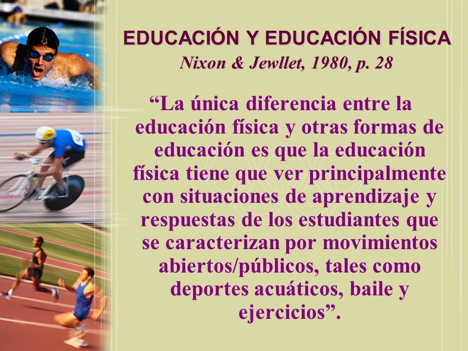 EDUCACIÓN Y EDUCACIÓN FÍSICA Nixon & Jewllet, 1980, p. 28