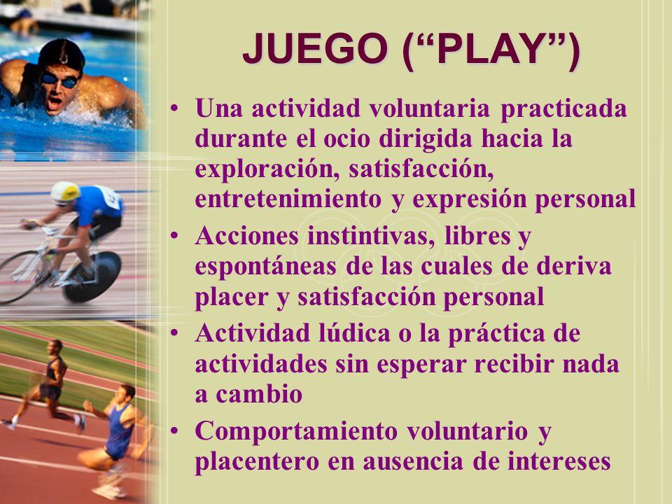 JUEGO ( PLAY ) Una actividad voluntaria practicada durante el ocio dirigida hacia la exploración, satisfacción, entretenimiento y expresión personal.