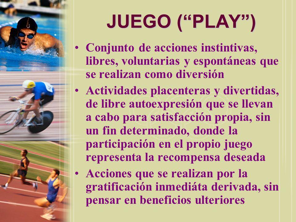 JUEGO ( PLAY )Conjunto de acciones instintivas, libres, voluntarias y espontáneas que se realizan como diversión.