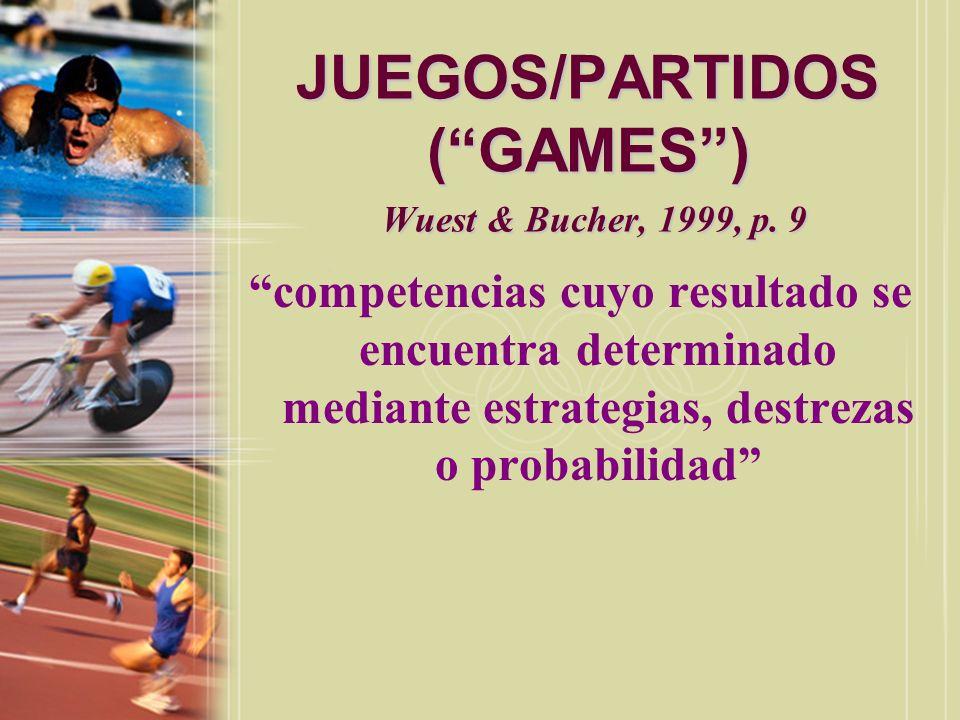 JUEGOS/PARTIDOS ( GAMES ) Wuest & Bucher, 1999, p. 9