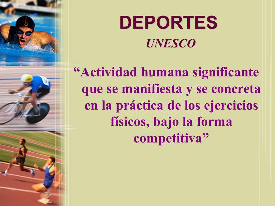 DEPORTES UNESCO Actividad humana significante que se manifiesta y se concreta en la práctica de los ejercicios físicos, bajo la forma competitiva