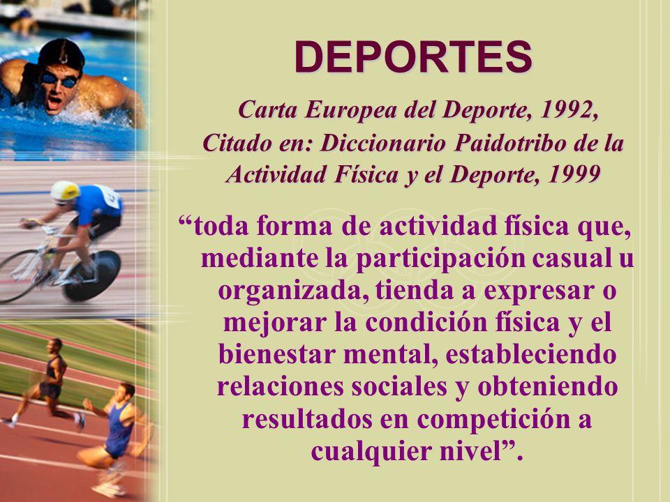 DEPORTES Carta Europea del Deporte, 1992, Citado en: Diccionario Paidotribo de la Actividad Física y el Deporte, 1999