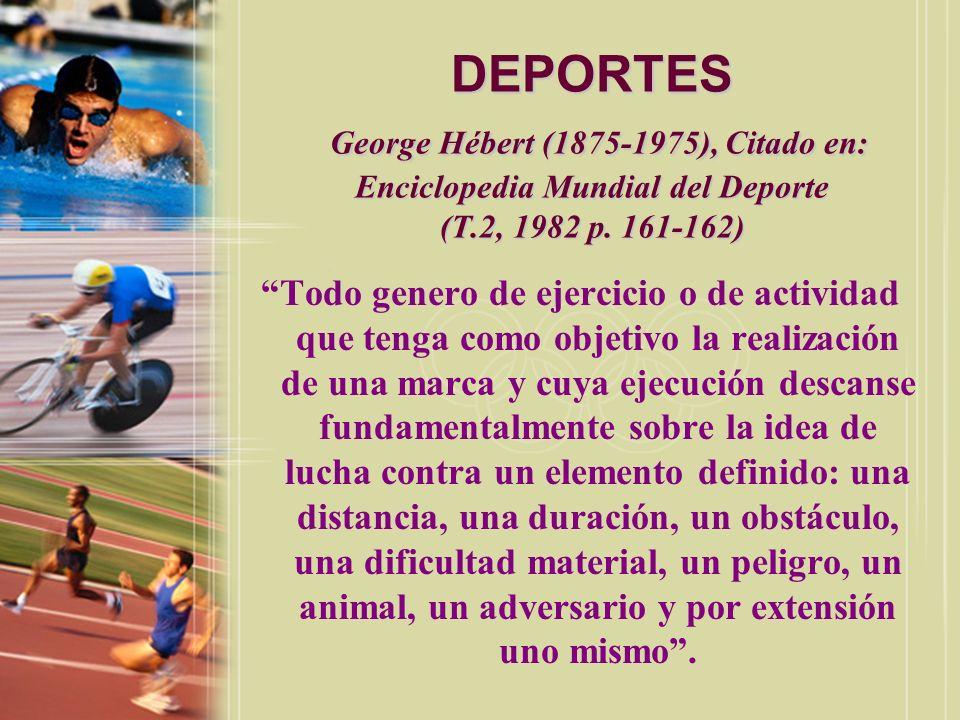 DEPORTES George Hébert (1875-1975), Citado en: Enciclopedia Mundial del Deporte (T.2, 1982 p. 161-162)