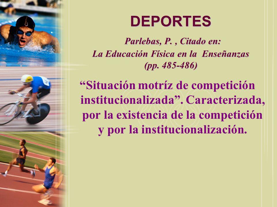 DEPORTES Parlebas, P. , Citado en: La Educación Física en la Enseñanzas (pp. 485-486)