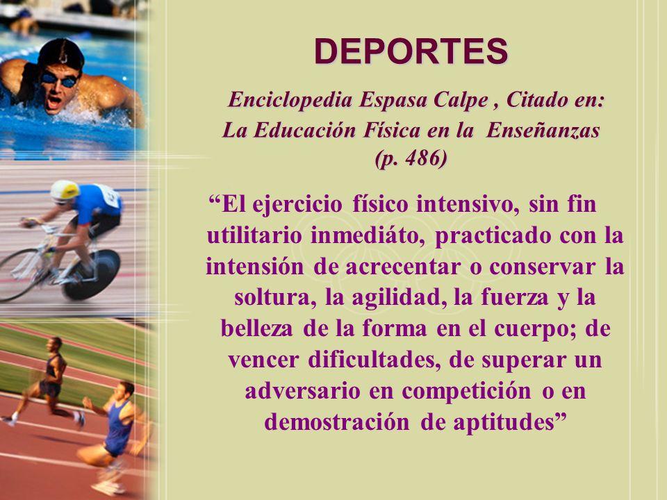 DEPORTES Enciclopedia Espasa Calpe , Citado en: La Educación Física en la Enseñanzas (p. 486)