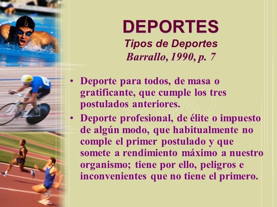 DEPORTES Tipos de Deportes Barrallo, 1990, p. 7