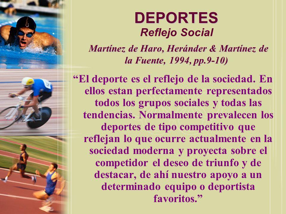 DEPORTES Reflejo Social Martínez de Haro, Heránder & Martínez de la Fuente, 1994, pp.9-10)