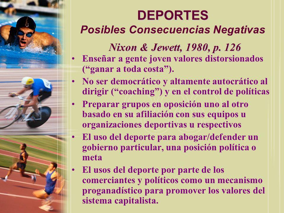 DEPORTES Posibles Consecuencias Negativas Nixon & Jewett, 1980, p. 126