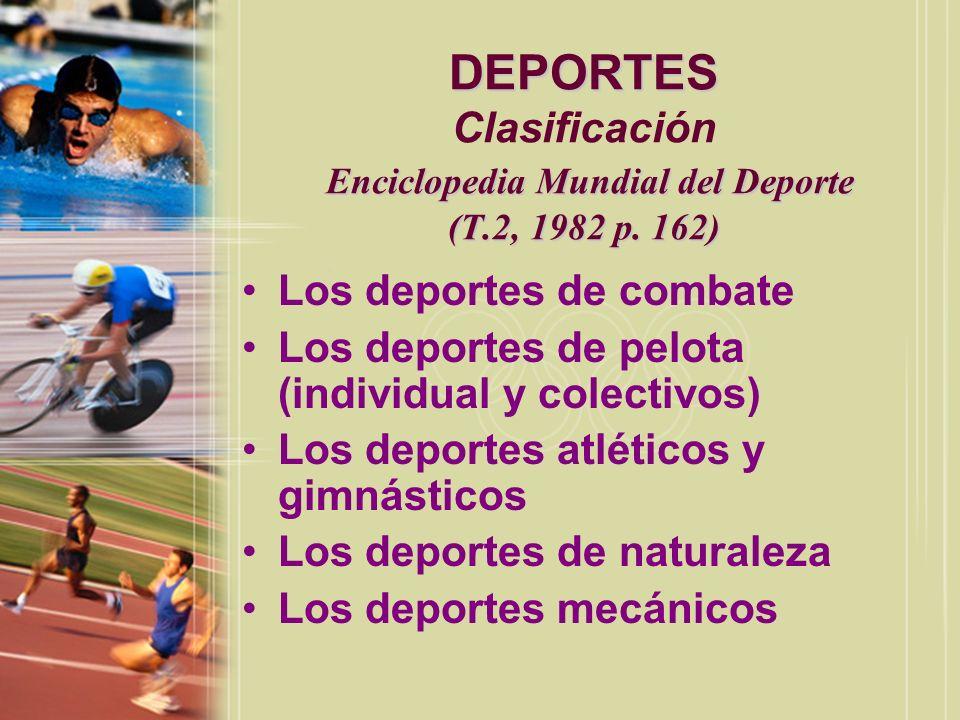DEPORTES Clasificación Enciclopedia Mundial del Deporte (T. 2, 1982 p