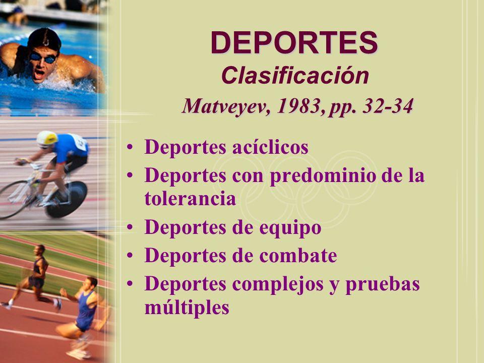 DEPORTES Clasificación Matveyev, 1983, pp. 32-34