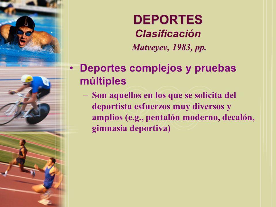 DEPORTES Clasificación Matveyev, 1983, pp.