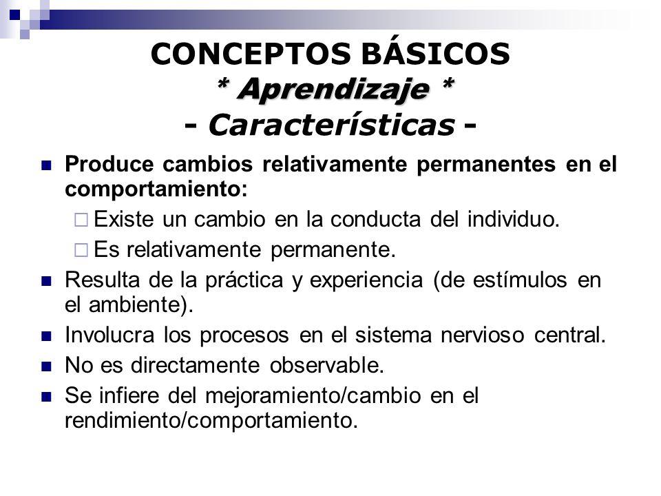 CONCEPTOS BÁSICOS * Aprendizaje * - Características -