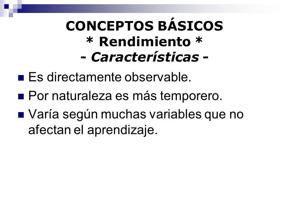 CONCEPTOS BÁSICOS * Rendimiento * - Características -