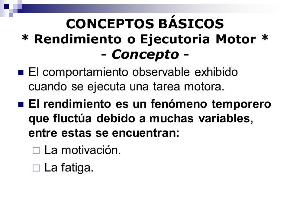 CONCEPTOS BÁSICOS * Rendimiento o Ejecutoria Motor * - Concepto -