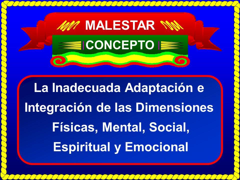 MALESTAR La Inadecuada Adaptación e Integración de las Dimensiones