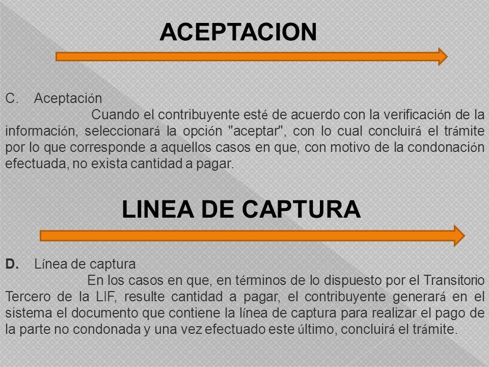 ACEPTACION LINEA DE CAPTURA