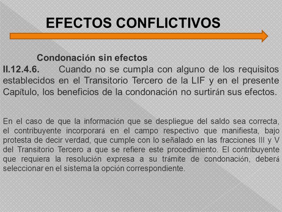 EFECTOS CONFLICTIVOS Condonación sin efectos