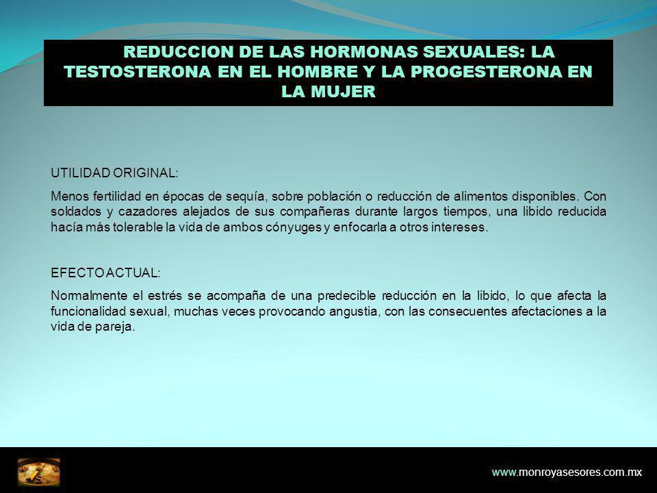 4. REDUCCION DE LAS HORMONAS SEXUALES: LA TESTOSTERONA EN EL HOMBRE Y LA PROGESTERONA EN LA MUJER