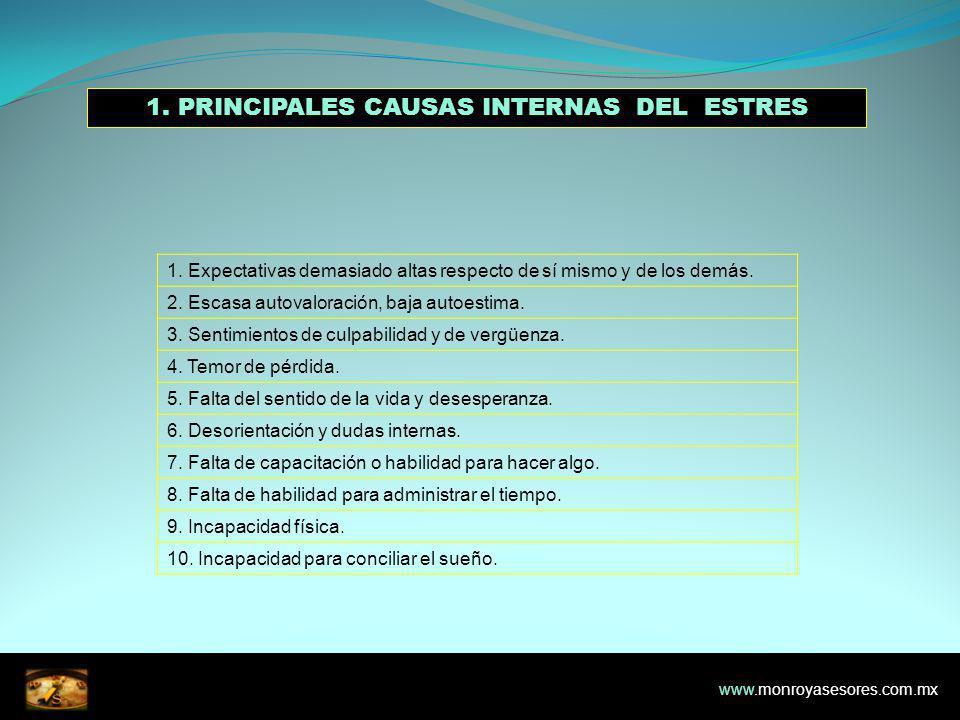1. PRINCIPALES CAUSAS INTERNAS DEL ESTRES