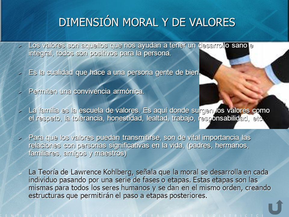 DIMENSIÓN MORAL Y DE VALORES