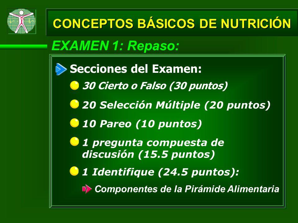 EXAMEN 1: Repaso: CONCEPTOS BÁSICOS DE NUTRICIÓN Secciones del Examen: