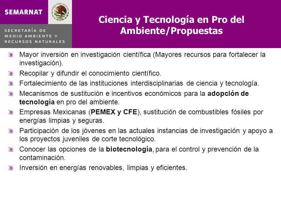 Ciencia y Tecnología en Pro del Ambiente/Propuestas