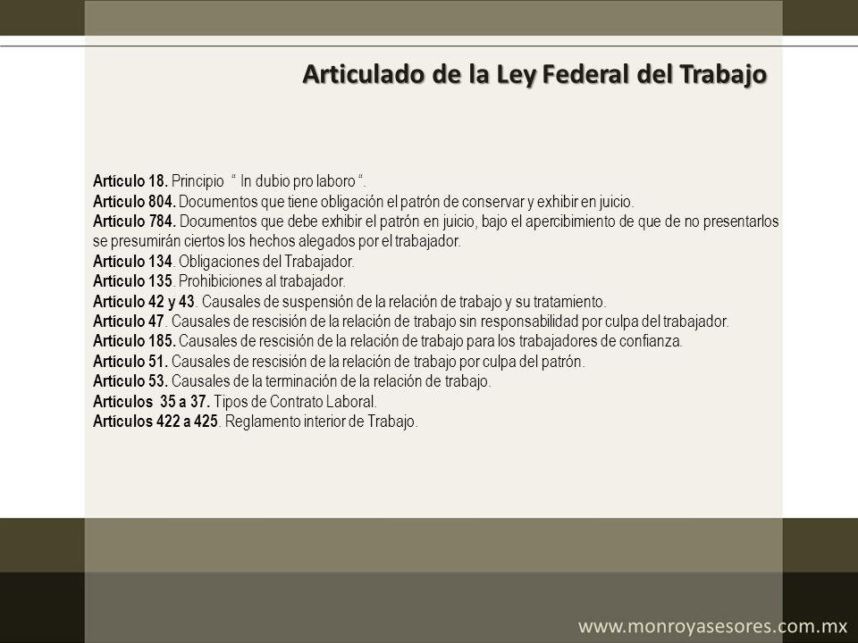 Articulado de la Ley Federal del Trabajo