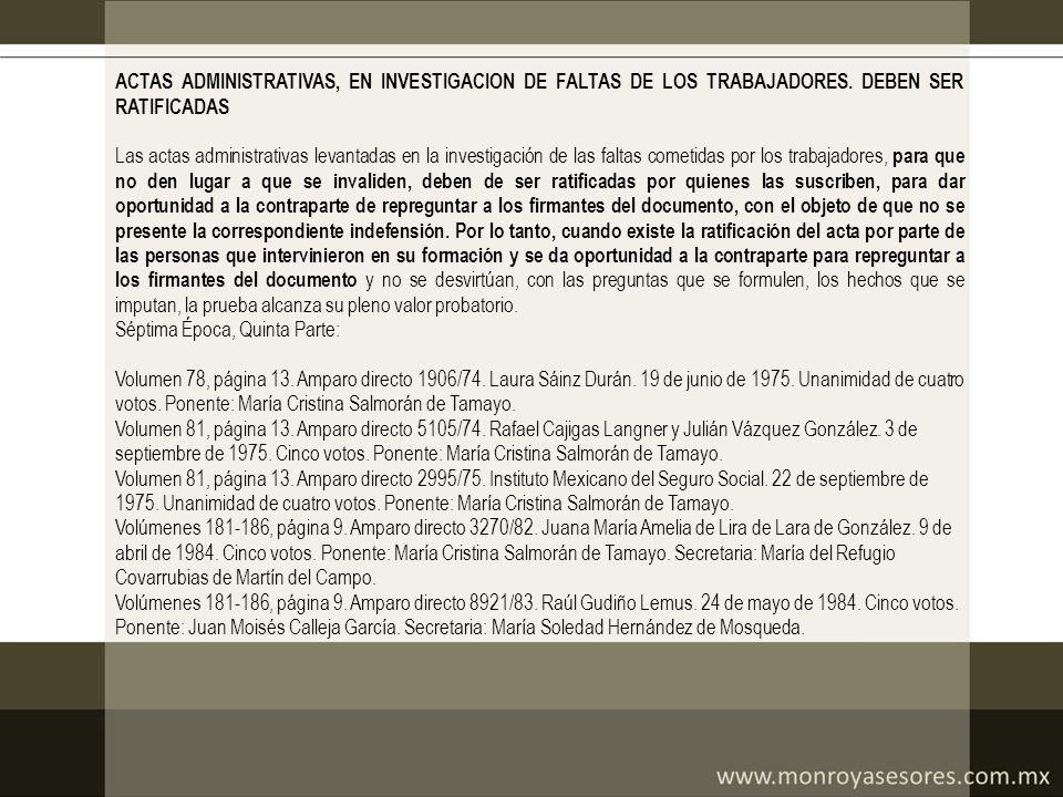 ACTAS ADMINISTRATIVAS, EN INVESTIGACION DE FALTAS DE LOS TRABAJADORES