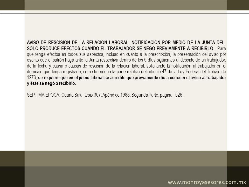 AVISO DE RESCISION DE LA RELACION LABORAL