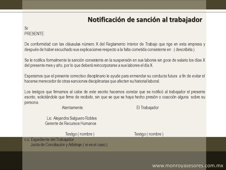Notificación de sanción al trabajador