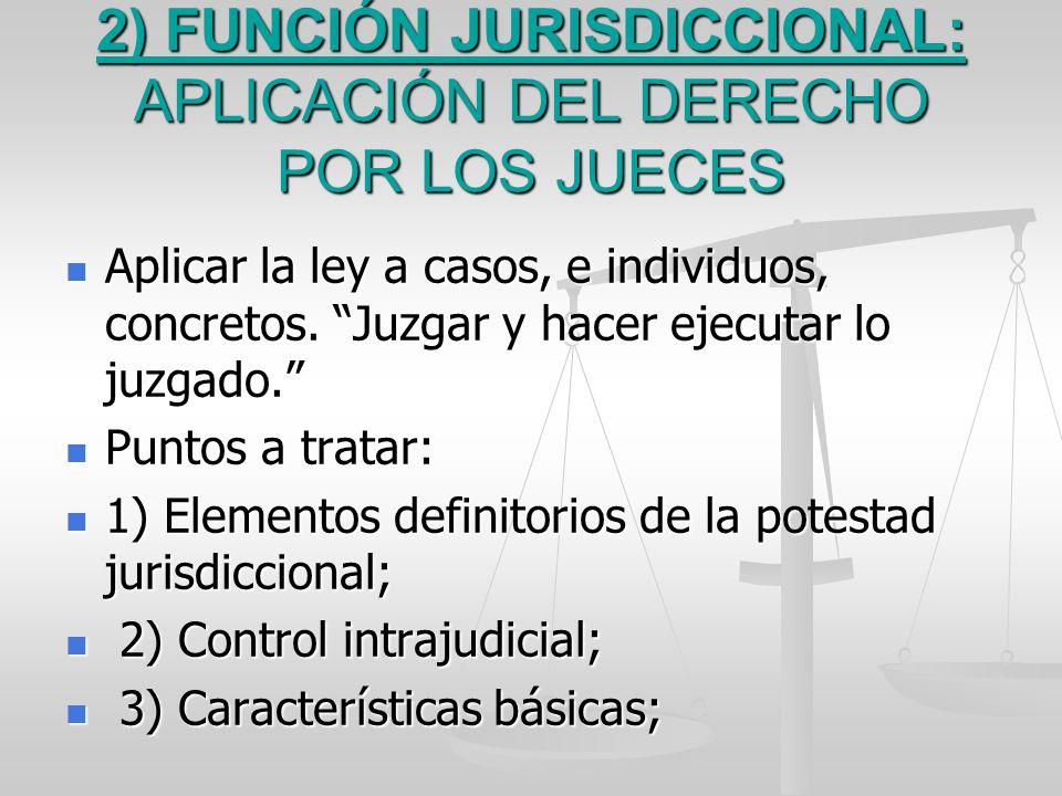 2) FUNCIÓN JURISDICCIONAL: APLICACIÓN DEL DERECHO POR LOS JUECES