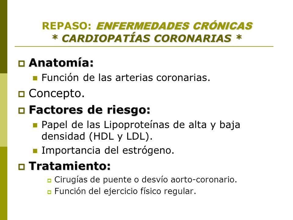 REPASO: ENFERMEDADES CRÓNICAS * CARDIOPATÍAS CORONARIAS *