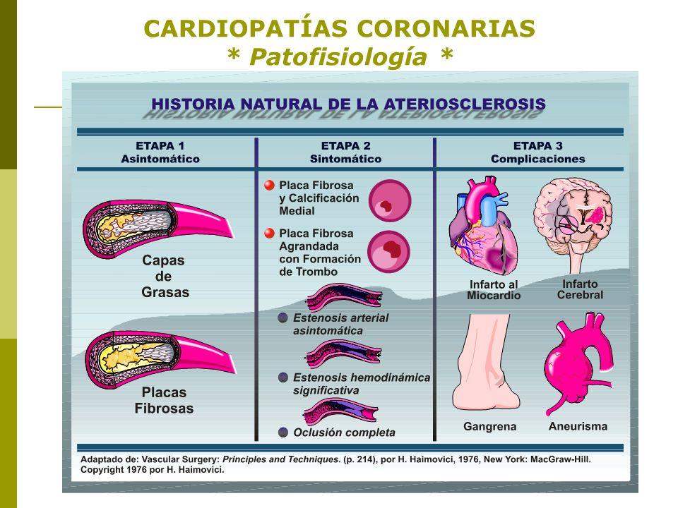 CARDIOPATÍAS CORONARIAS * Patofisiología * - Aterosclerosis -