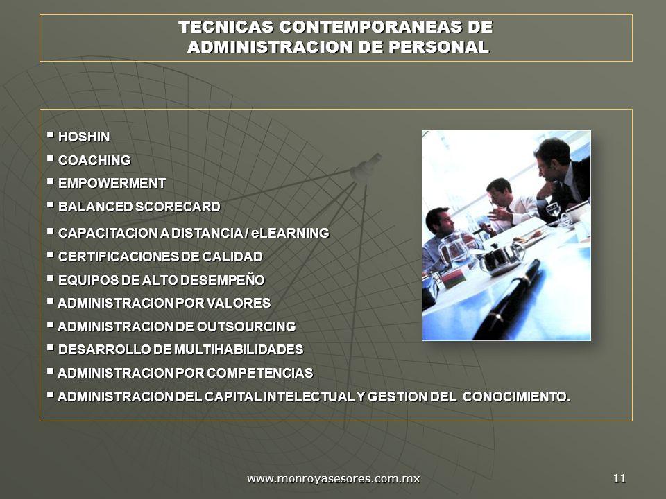 TECNICAS CONTEMPORANEAS DE ADMINISTRACION DE PERSONAL