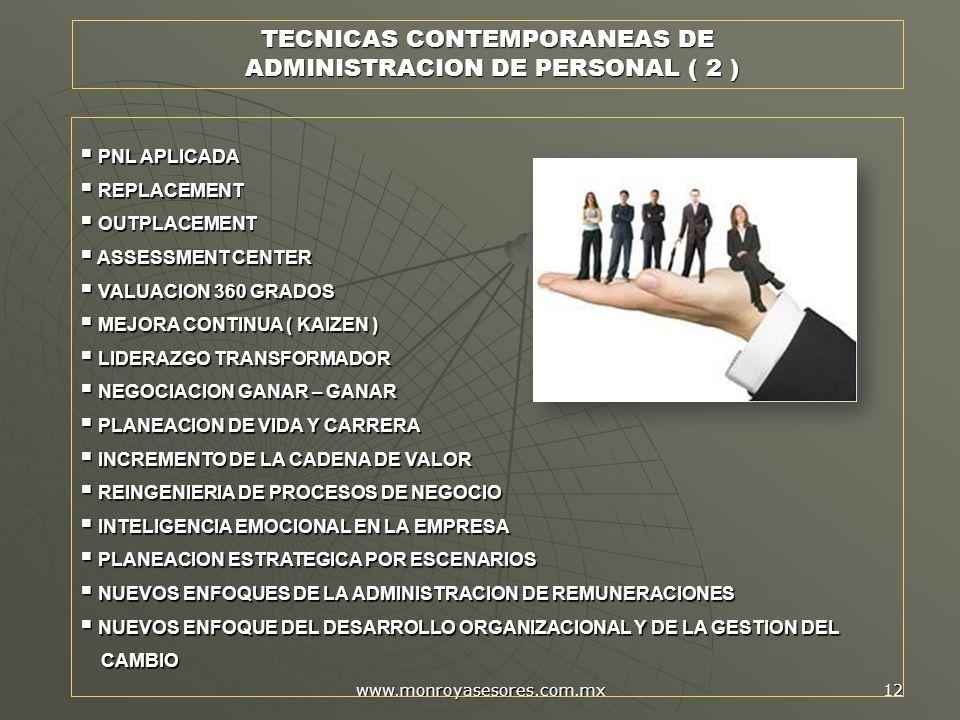 TECNICAS CONTEMPORANEAS DE ADMINISTRACION DE PERSONAL ( 2 )