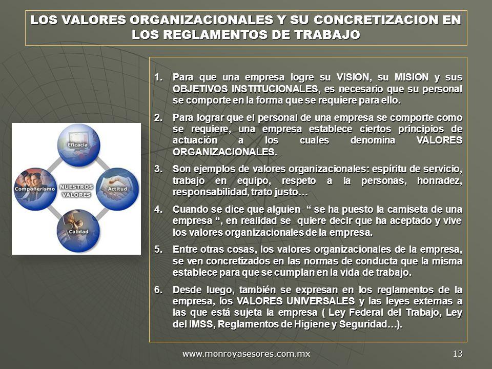 LOS VALORES ORGANIZACIONALES Y SU CONCRETIZACION EN LOS REGLAMENTOS DE TRABAJO