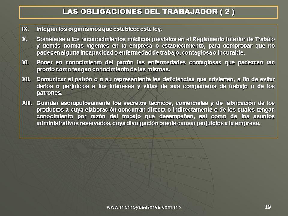 LAS OBLIGACIONES DEL TRABAJADOR ( 2 )