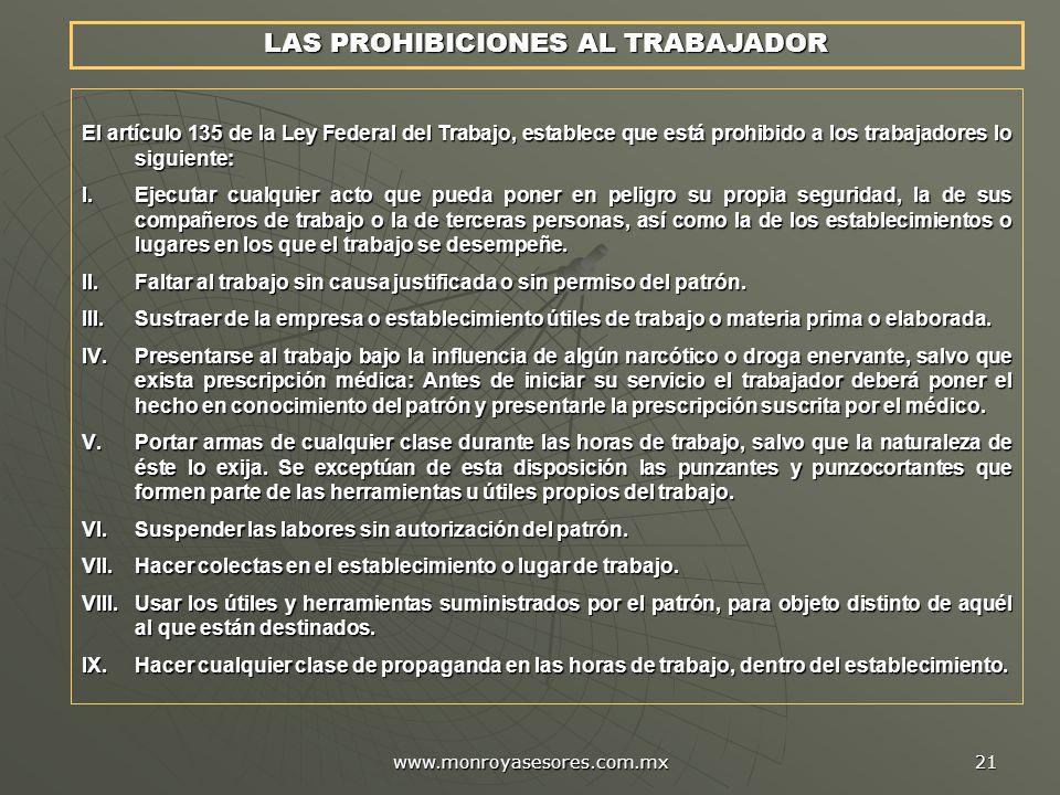 LAS PROHIBICIONES AL TRABAJADOR