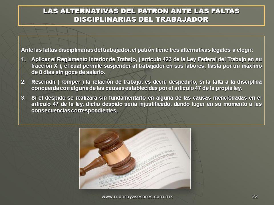 LAS ALTERNATIVAS DEL PATRON ANTE LAS FALTAS DISCIPLINARIAS DEL TRABAJADOR