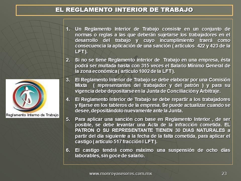 EL REGLAMENTO INTERIOR DE TRABAJO