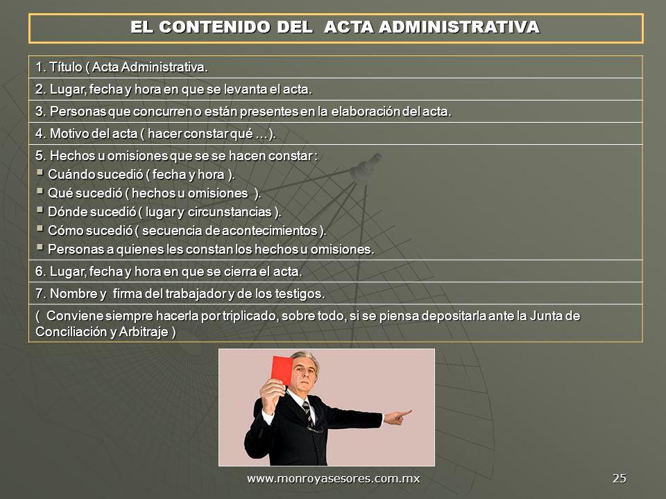 EL CONTENIDO DEL ACTA ADMINISTRATIVA