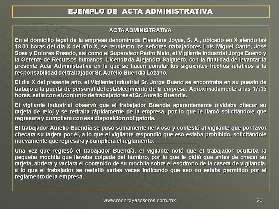EJEMPLO DE ACTA ADMINISTRATIVA