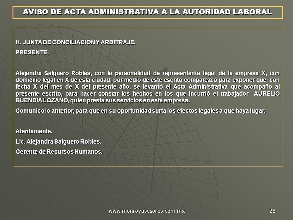 AVISO DE ACTA ADMINISTRATIVA A LA AUTORIDAD LABORAL