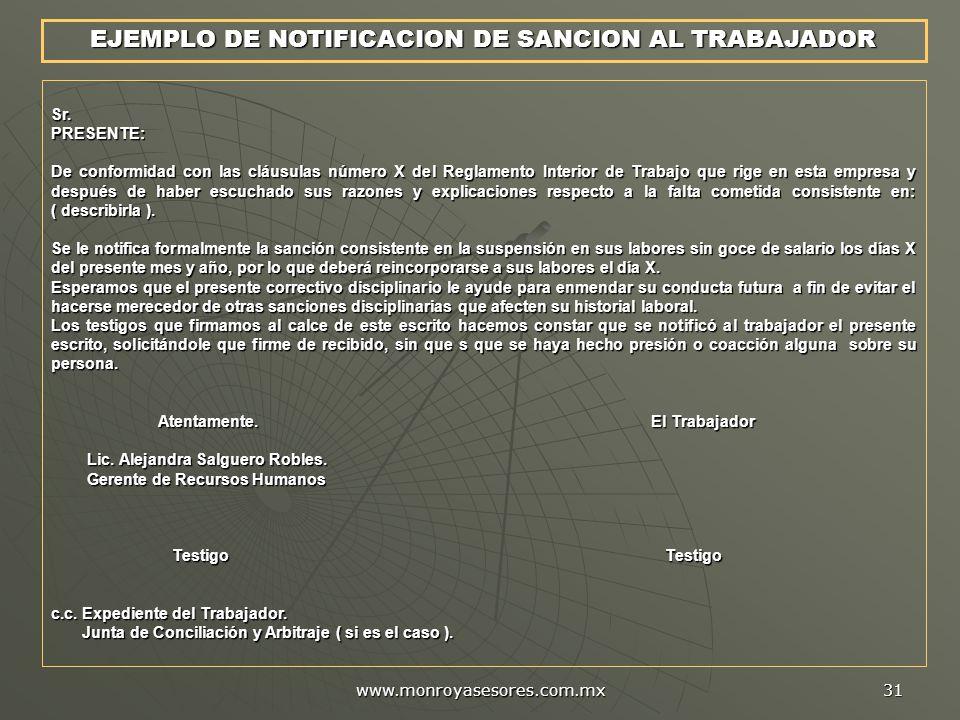 EJEMPLO DE NOTIFICACION DE SANCION AL TRABAJADOR