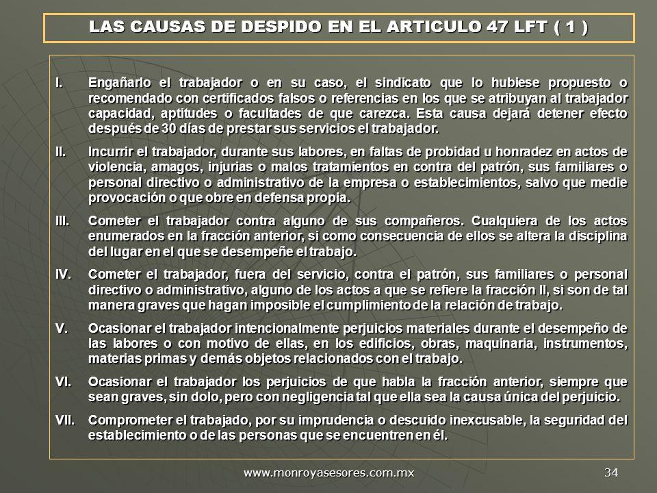 LAS CAUSAS DE DESPIDO EN EL ARTICULO 47 LFT ( 1 )