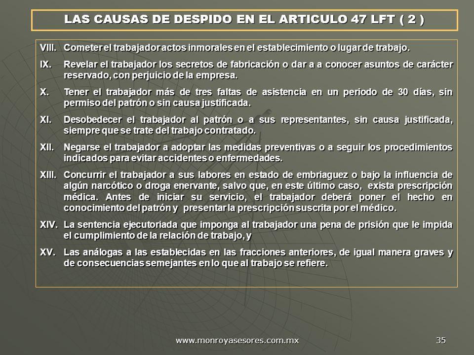 LAS CAUSAS DE DESPIDO EN EL ARTICULO 47 LFT ( 2 )